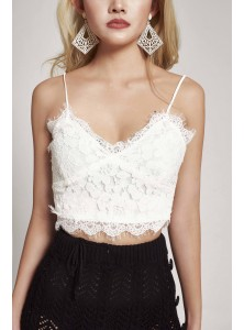 Acadia Floral Lace Camisole in White (Size S on Backorder)
