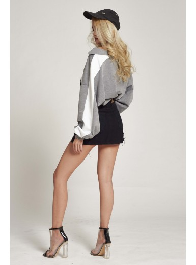 Dree Contrast Pullover in Grey
