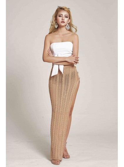 2249273744e7 Willow Crochet Maxi Skirt in Nude