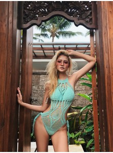 Alessandra Crochet Monokini in Mint Green (Backorder)