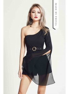 Lea Toga Chiffon Playsuit in Black