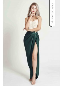 Benz Draped Maxi Skirt in Emerald Green
