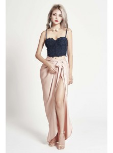 Benz Draped Maxi Skirt in Champagne