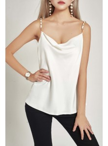 Asha Satin Cowl Top in White