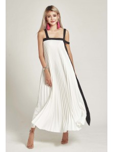 Bleu Pleated Maxi Dress in White (Backorder)