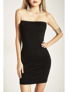 Kell Bandeau Slip Dress in Black