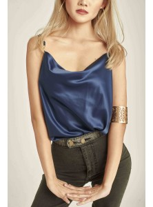 Asha Cowl Neck Top in Royal Blue