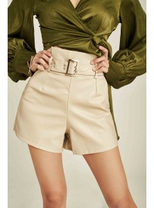 Mitchell High-waisted Faux-Leather Shorts
