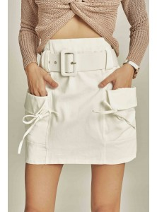 Raquel High-waisted Utilitarian Skirt in White