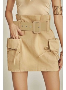 Raquel High-waisted Utilitarian Skirt in Khaki