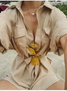 Chè Utilitarian Playsuit in Khaki (Backorder)