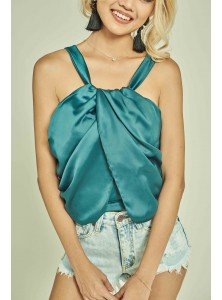 Weds Halter Satin Top in Teal
