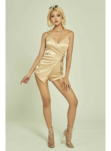 Royce Wrapped Satin Playsuit in Gold