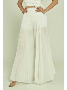 April Pleated Palazzos in White (Backorder)
