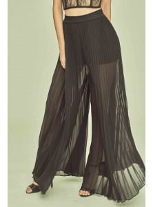 April Pleated Palazzo Pants in Black