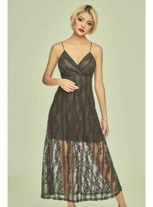 Aphelia Embroidered Maxi Dress in Black