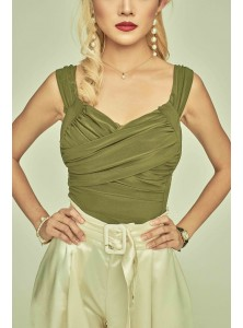 Revel Pleated Bustier Bodysuit in Olive