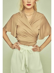 Aella Flared Sleeve Wrap Top in Tan