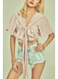 Aella Flared Sleeve Wrap Top in Cameo Pink