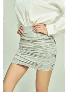 Cierre Ruched Bodycon Skirt in Grey
