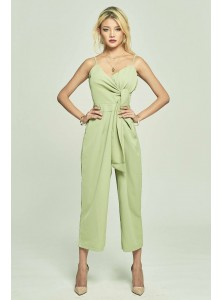 Calixta Wrap Jumpsuit in Avocado