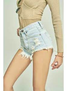 Yani Ripped Denim Shorts in Whitewash