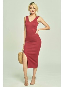 Sandre Knit Midi Dress in Wine