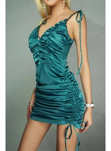 Adrianne Ruched Satin Camisole Dress in Ocean