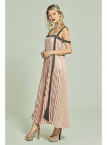 Bleu Pleated Maxi Dress in Pink