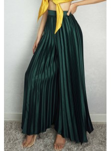 Gail Pleated Satin Pants in Forest Green