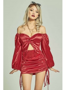 Andreas Long Sleeved Satin Dress in Red
