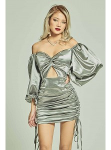 Andreas Long Sleeved Satin Dress in Silver