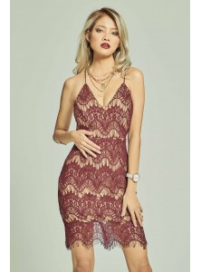 Marcella Lace Bodycon Dress in Maroon