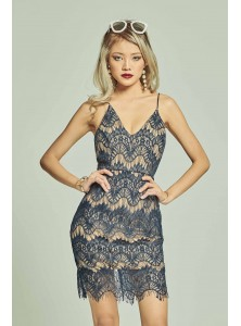 Marcella Lace Bodycon Dress in Navy