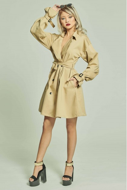 Roberta Trench Dress in Khaki