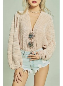 Sabrine Pleated Kimono Bodysuit in Rose Gold
