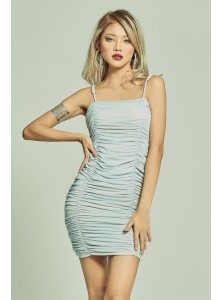 Holiday Mesh Ruched Dress in Dusk Blue