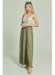 Elodie Bustier Pleated Jumpsuit in Flora