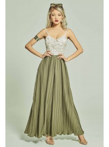 Elodie Bustier Pleated Jumpsuit in Fauna