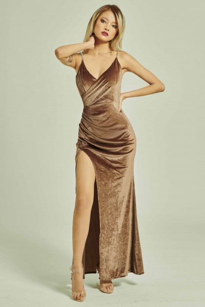 Mori Velvet Maxi Dress in Bronze