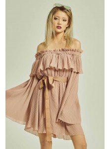 Danira Pleated Off Shoulder Playsuit in Pink