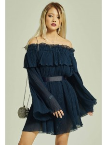 Danira Pleated Off Shoulder Playsuit in Navy