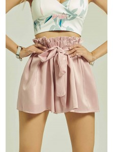 Chandler Satin Flared Shorts in Pink