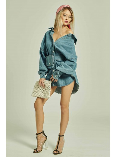 Ida Pouch Denim Shirtdress