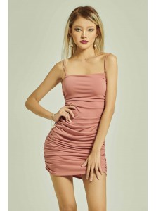 Rilynn Ruched Spaghetti Dress in Coral