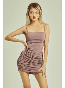 Rilynn Ruched Spaghetti Dress in Plum
