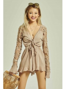 Nathalia Lace Sleeved Playsuit