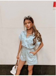 Pierre Denim Oversized Playsuit (Size L on Backorder)