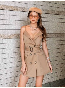 Paloma Trench Dress in Khaki