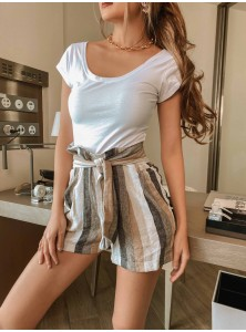 Calla Striped Linen Shorts